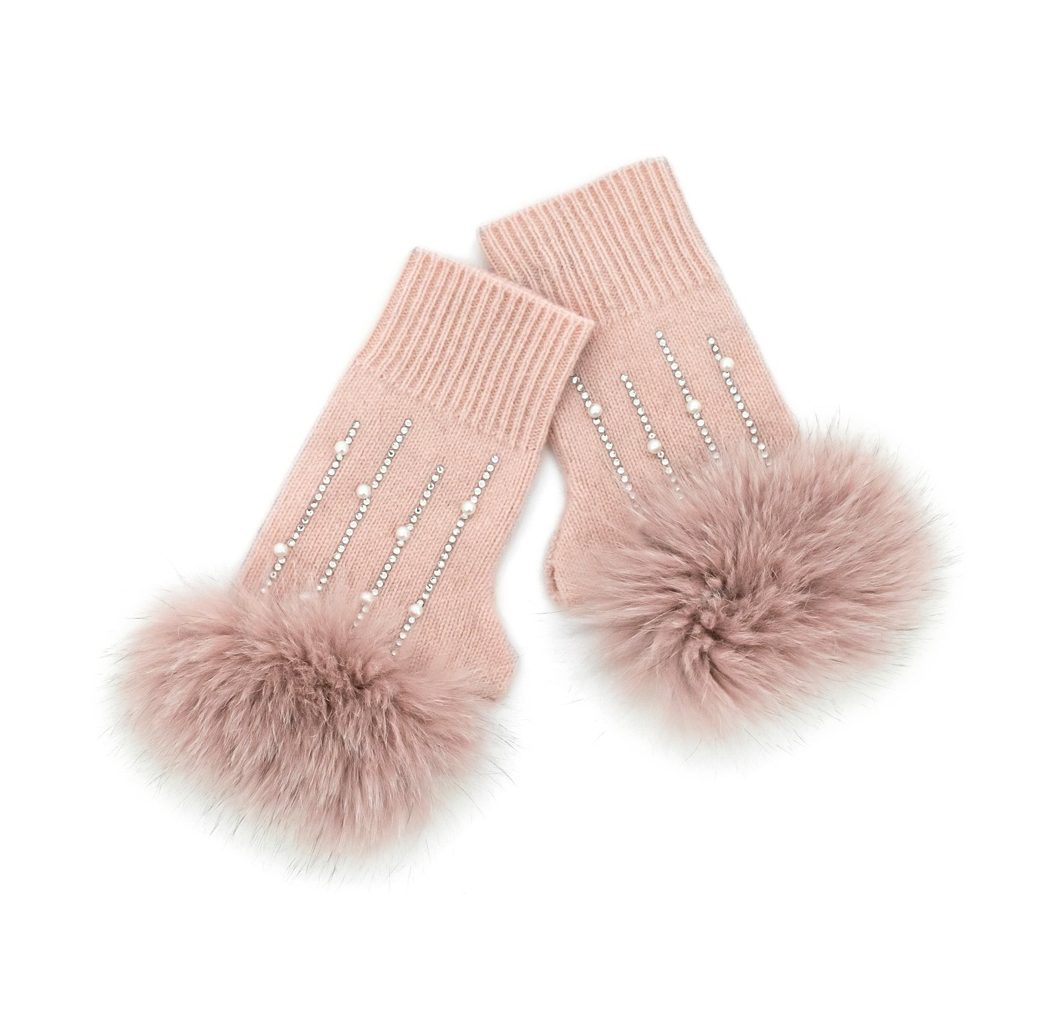 Soft Pink Knitted Fingerless Gloves w/ Crystals & Fox Trim