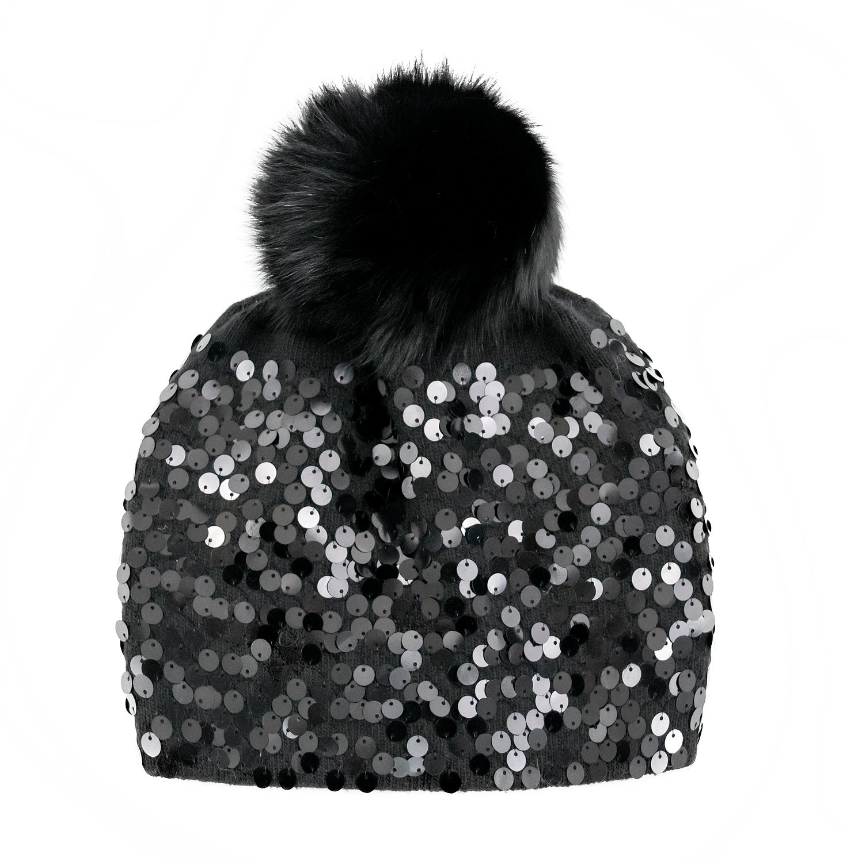 Black Knit Beanie w/ Full Sequins & Blk Fox Pom