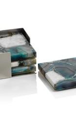 Crete Agate Coasters on Metal Tray Green/White Set/4