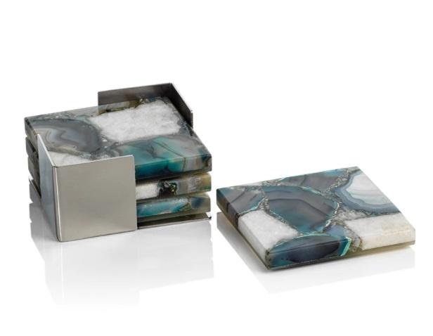 Crete Agate Coasters on Metal Tray Green/White