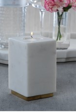 Tuscan White Marble Tealight Holder on Brass Base