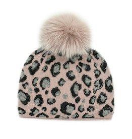 Dusty Pink & Grey Animal Print Hat w/ Crystals & Fox Pom