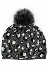 Blk, Charcoal & Grey Animal Print Hat w/ Crystals & Fox Pom