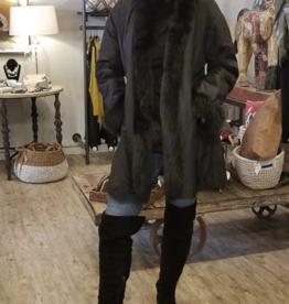 Linda Richards Reversible Chevron Fox Shawl Jacket Black