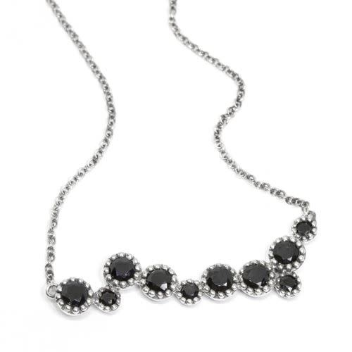 Milgrain Bar Pendant Necklace Black Spinel