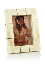 St. Ives Bone Inlaid Photo Frame with Brass Trim - Natural