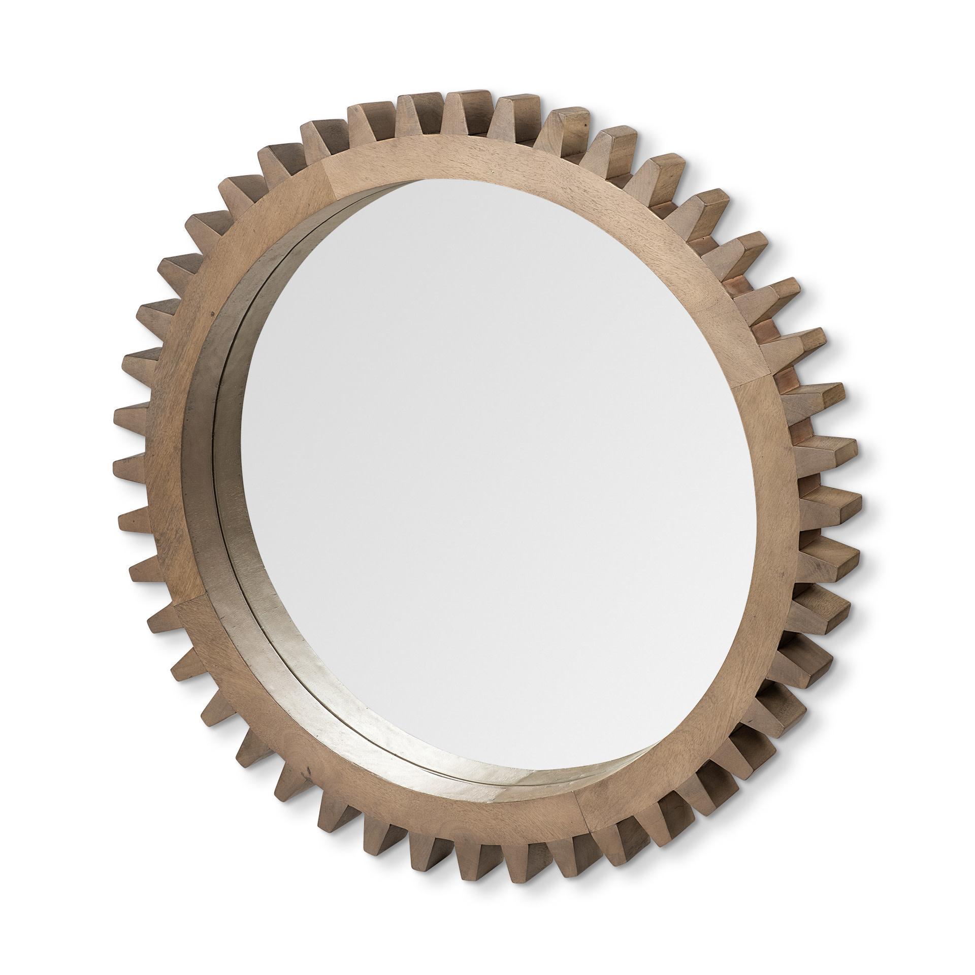 """Sunrise Cog Mirror 35"""" Brown Wood"""