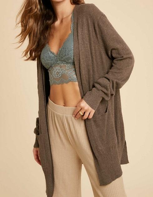 Long Sleeve Boucle Cardigan w/ Pockets Charcoal