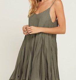Sleeveless Flare Dress Olive