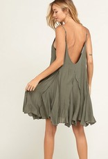Sleeveless Flare Dress Olive