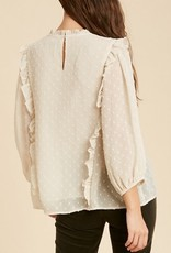 Swiss Dot Ruffle Pintuck Blouse Cream