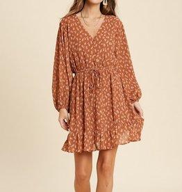 Floral Print Tie Waist Mini Dress Rust Combo