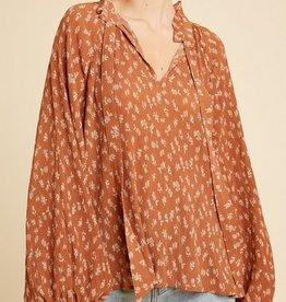 Floral Print Neck Tie Blouse Rust