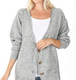 Oversized Button Down Melange Cardigan