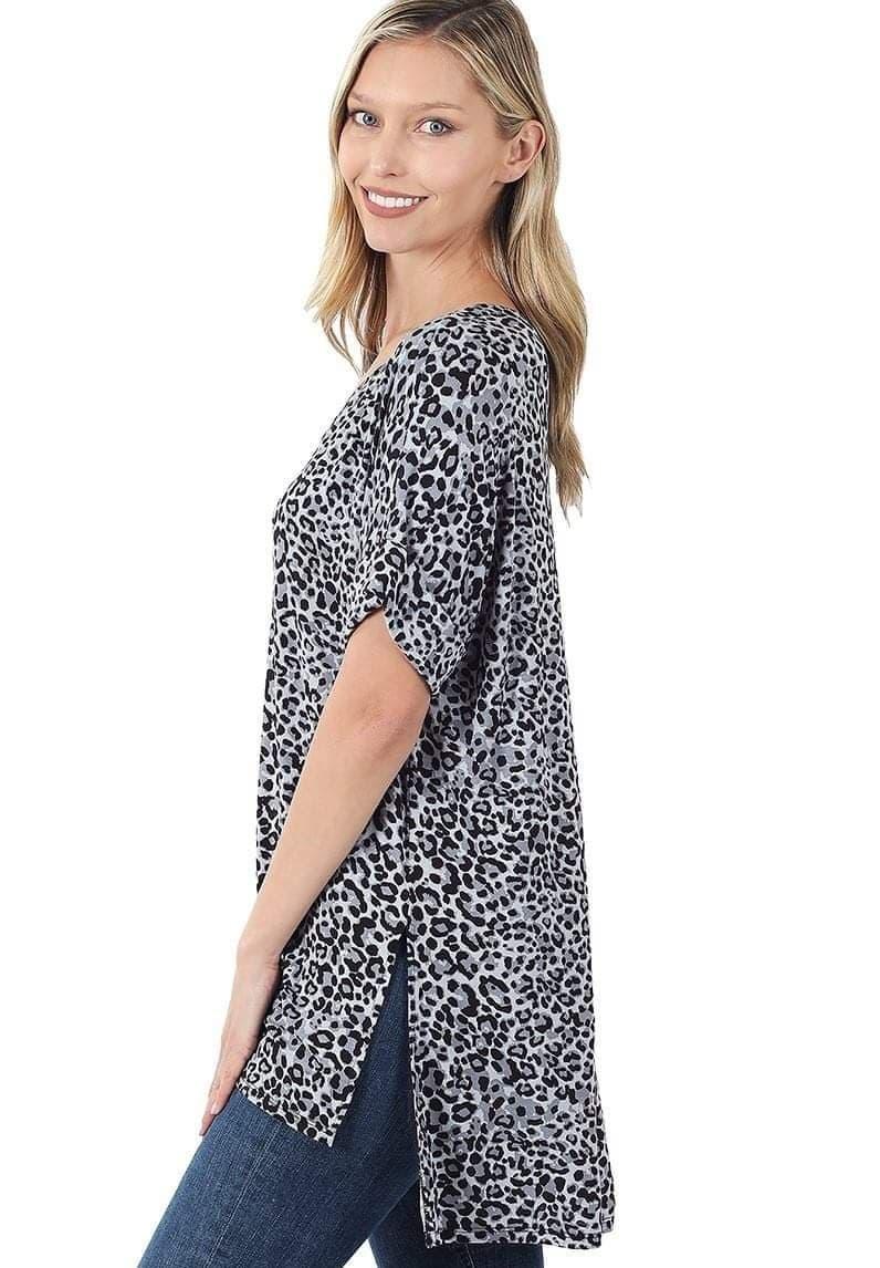 Leopard Print High Low V-Neck Top Grey
