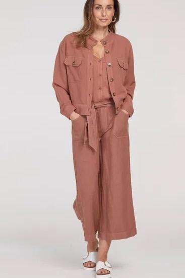 Tribal Cropped Linen Blend Jacket