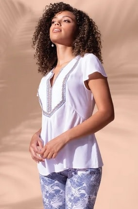 Tribal Cap Sleeve Blouse w/ Embroidery White