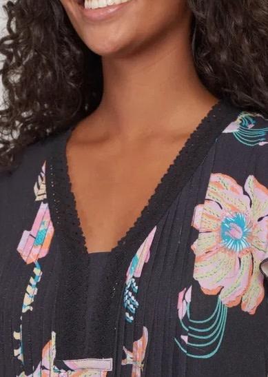 Tribal Crochet Trim Flutter Sleeve Dress CoralFiz