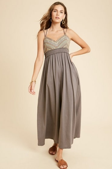 Embroidered Babydoll Maxi Dress Charcoal
