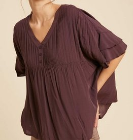 Pleated Top with Flare Sleeve Wine
