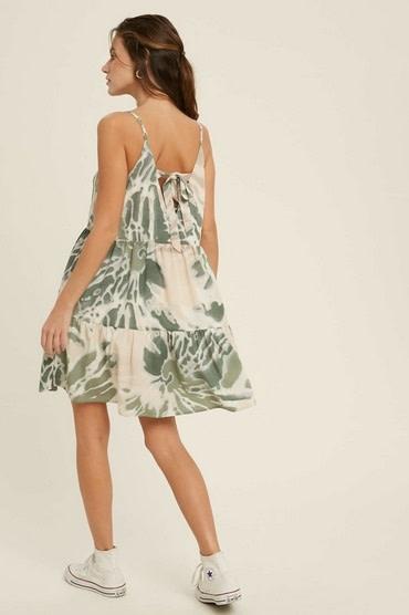 Tie Dye Tiered Mini Dress Green Combo