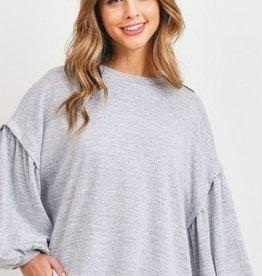 Bubble Sleeve Oversize Top H Grey