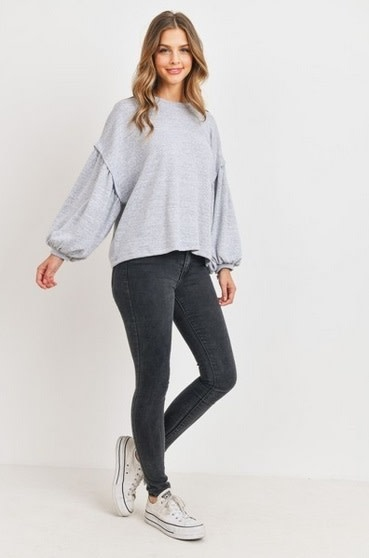 Bubble Sleeve Oversize Top H Grey