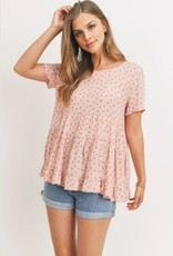 Printed Floral Tiered Top Blush