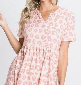 Ruffled Hem Animal Print Top Pink