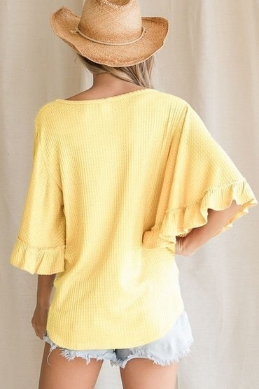Ruffle Sleeve Waffle Knit Top Yellow