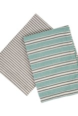 French Linen Tea Towels Turquoise Set/2