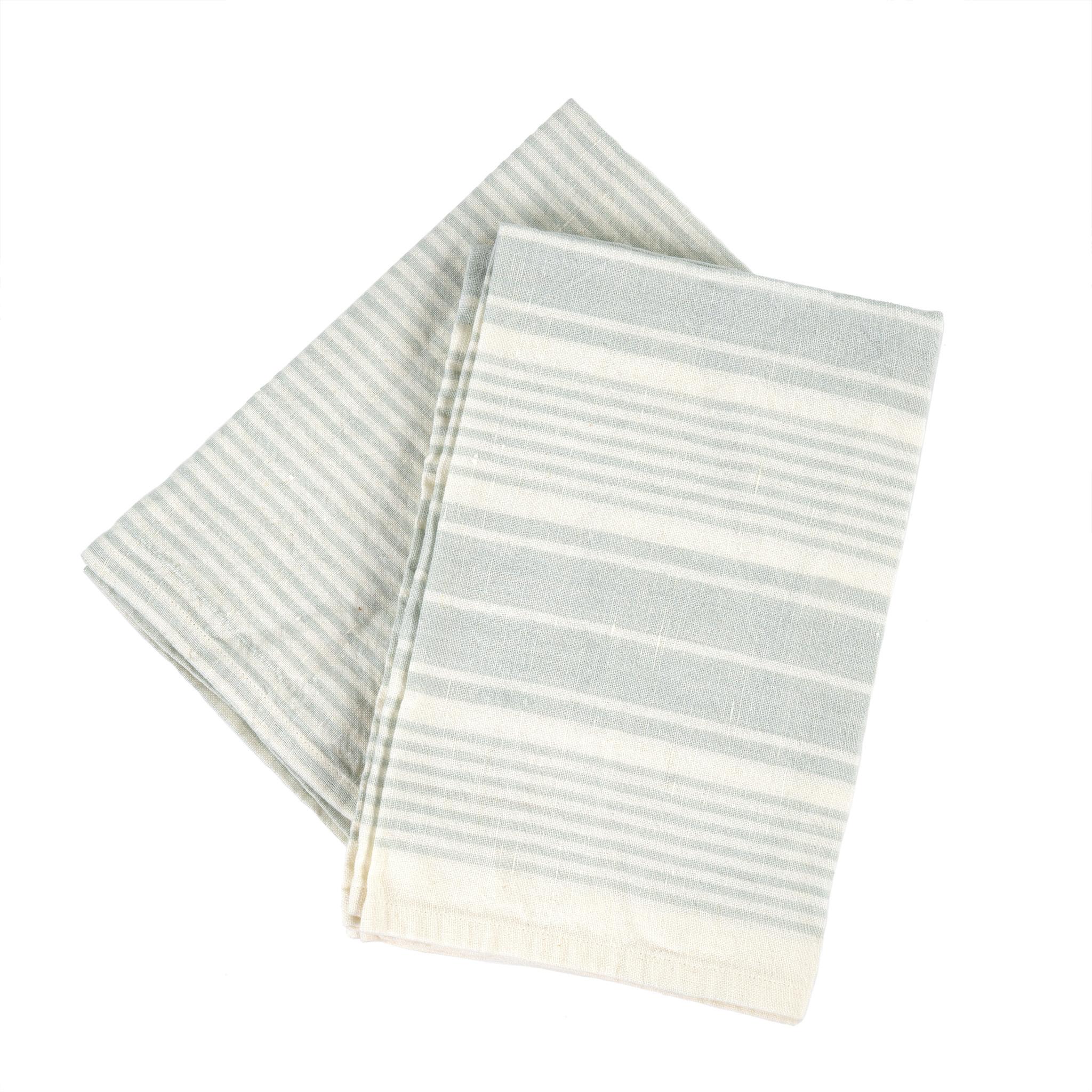 French Linen Tea Towels Aqua Set/2