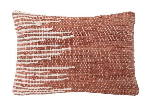 Terracotta Handwoven Striped Pillow 14 x 20