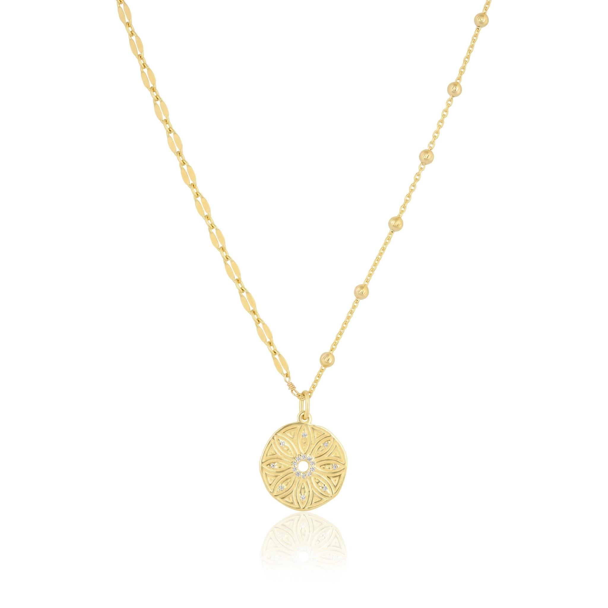 "Mini Flower Medallion 18"" Mismatch Chain Gold"
