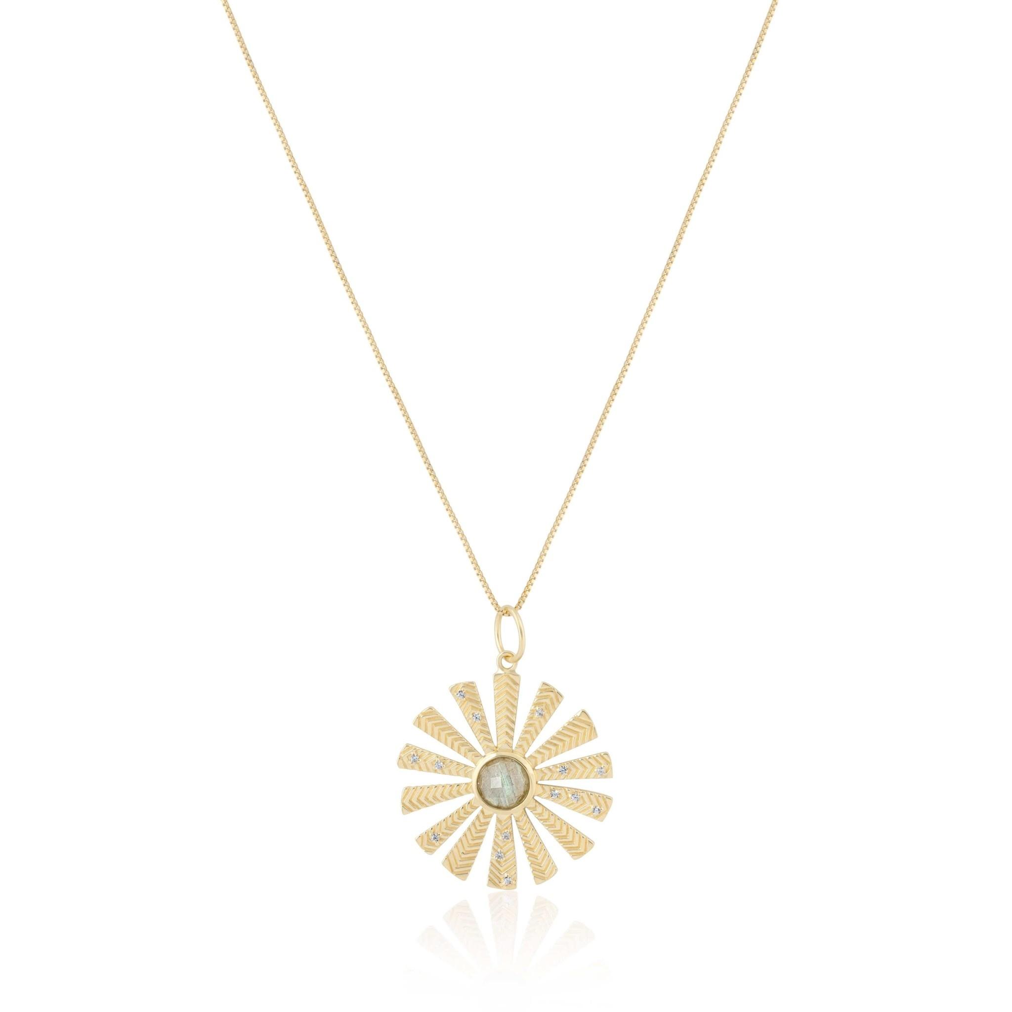 """Flowerburst Pendant Labradorite 16"""" Gold"""