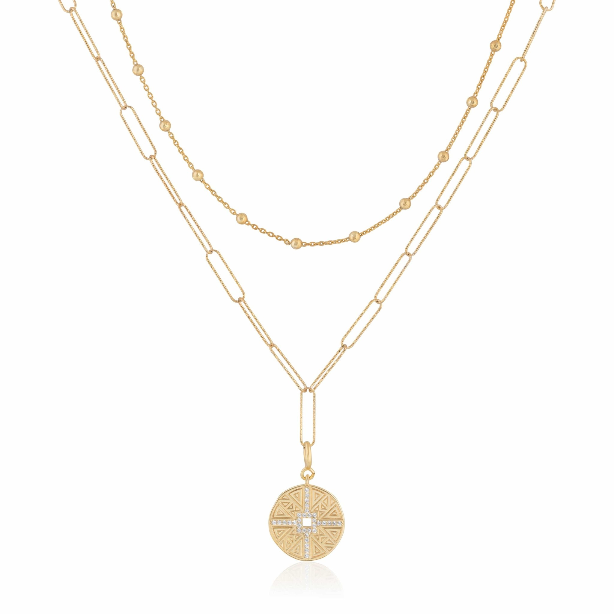 Double Layer Vintage Coin Necklace Gold