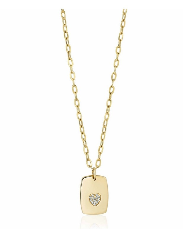 Pave Heart Dog Tag Necklace Gold