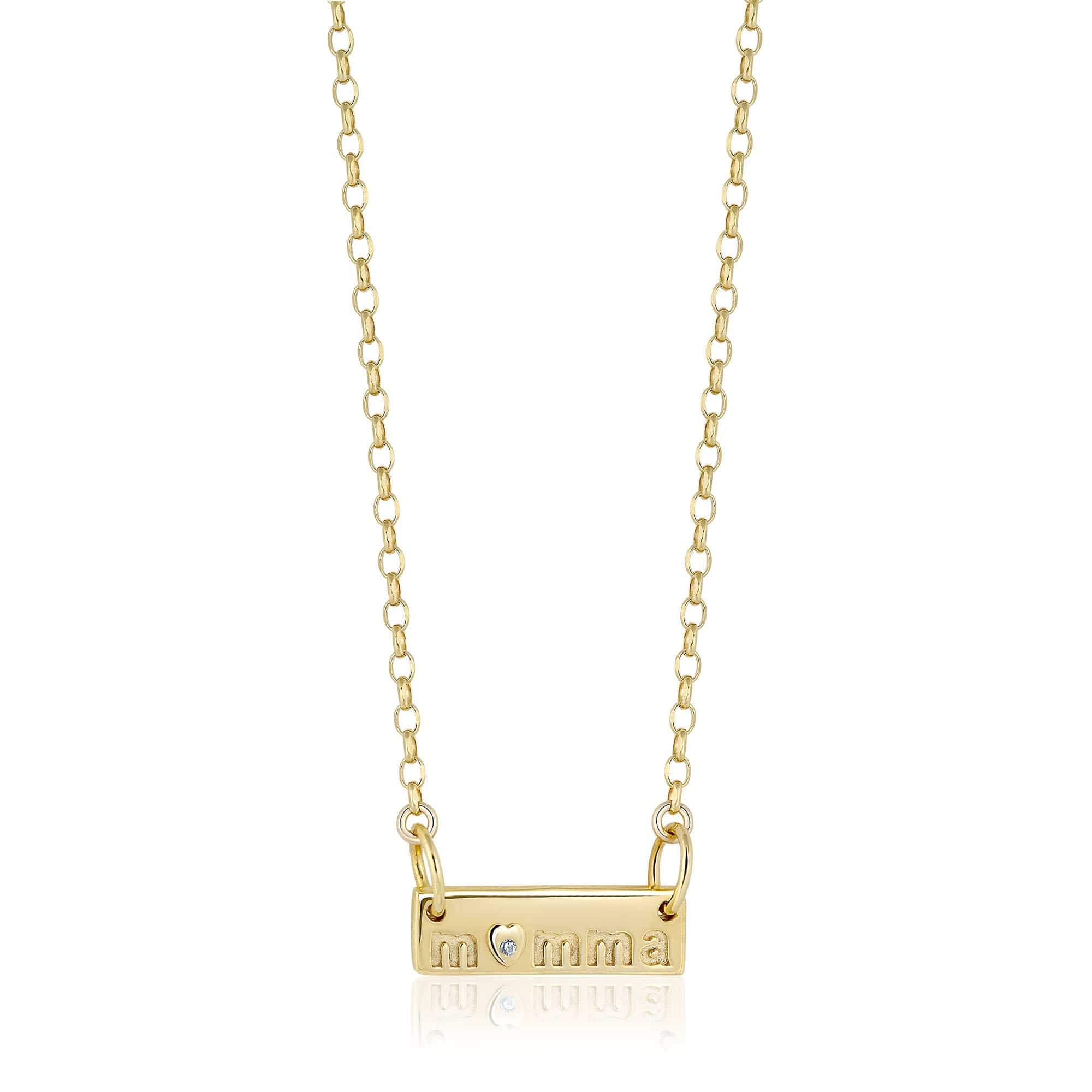 """Momma Plate 14"""" Necklace Gold"""
