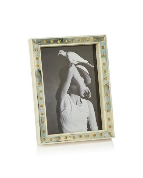 Punta Ala Inlaid Bone Photo Frame - White/Green