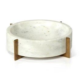 Nairobi White Marble Bowl on Gold Base