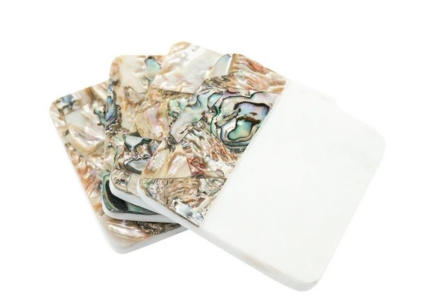 Mother of Pearl Shell Coasters Set/4