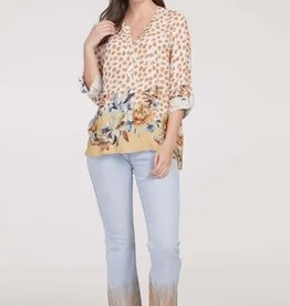 Tribal Roll Up Sleeve Blouse Cashew