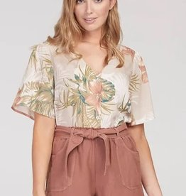 Tribal Bell Sleeve Button Up Front Blouse Safari