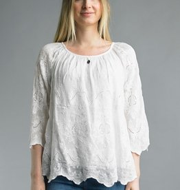 Embroidered Peasant Top White