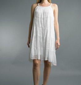 Braided Strip Dress White