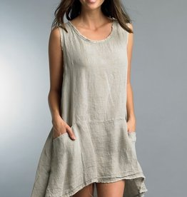 Hi Lo Linen Dress Taupe
