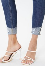 Button Up Distressed High Rise Skinny Ankle Jean