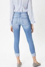Button Up Distressed High Rise Skinny Ankle Jean Light