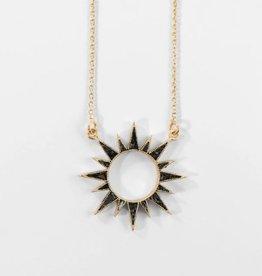 Deco Diamond Eclipse Necklace - Black
