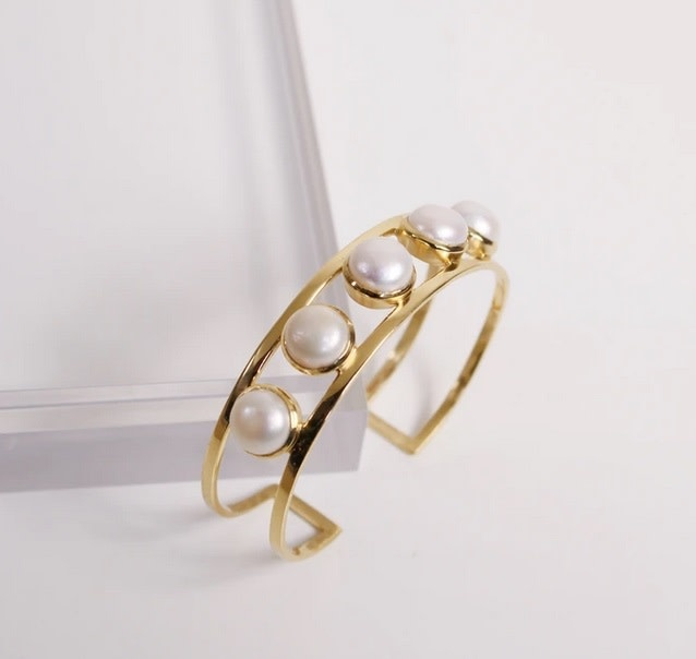 Jordan Cuff Bracelet - Pearl